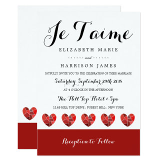 Patchwork Heart Je T'aime Wedding Card
