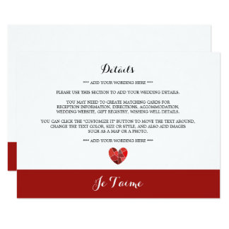 Patchwork Heart Je T'aime Wedding Detail Card