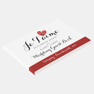 Patchwork Heart Je T'aime Wedding Guest Book