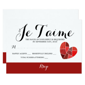 Patchwork Heart Je T'aime Wedding RSVP Card