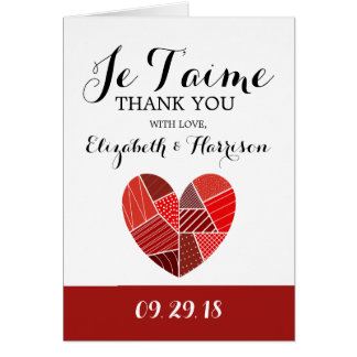 Patchwork Heart Je T'aime Wedding Thank You Card