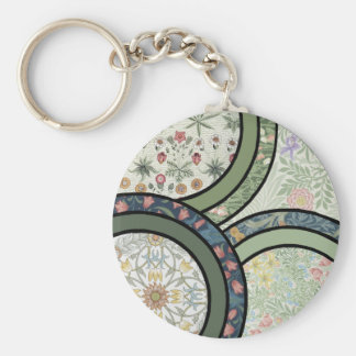 Patchwork in Green Basic Round Button Key Ring