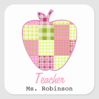 Patchwork Inspired Plaid Apple Teacher Square Stickers