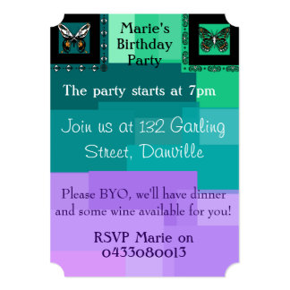 Patchwork Invite with Butterflies