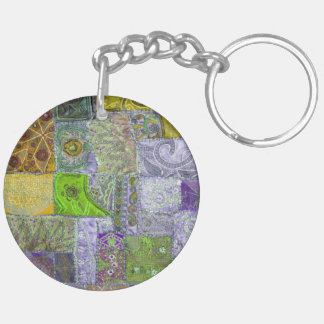 Patchwork Double-Sided Round Acrylic Keychain