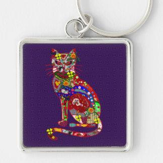 Patchwork Kitty Keychain