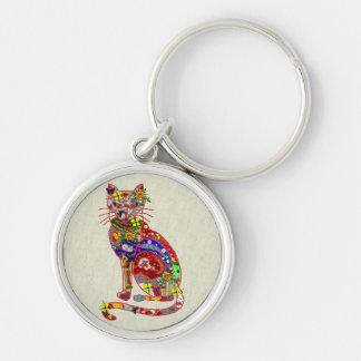Patchwork Kitty Key Chain