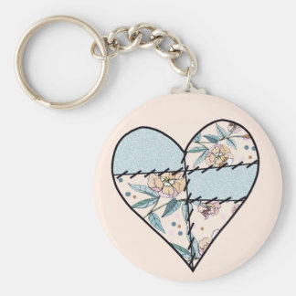 Patchwork LoveHeart Basic Round Button Key Ring
