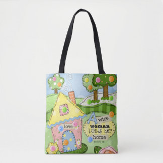 """Patchwork Meadow"" Cottage Tote Bag w/ Scripture"