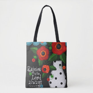 """Patchwork Meadow"" Poppies Tote Bag w/ Scripture"