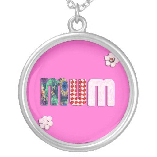 Patchwork 'MUM'  Text Design Pendant