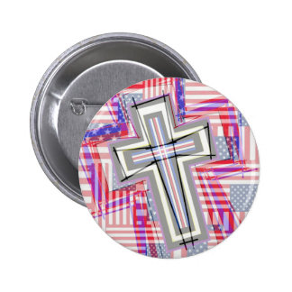 Patchwork of Crosses and Flags Button