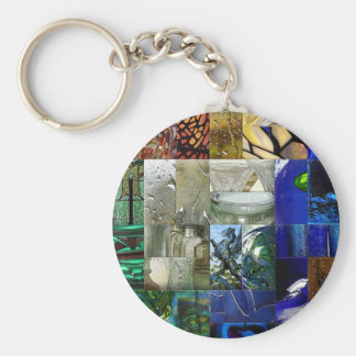 Patchwork of Glass Basic Round Button Key Ring