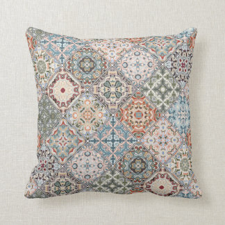 Patchwork of square patches Throw Pillow