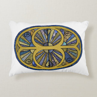 Patchwork Oval in Blue and Golds Decorative Cushion