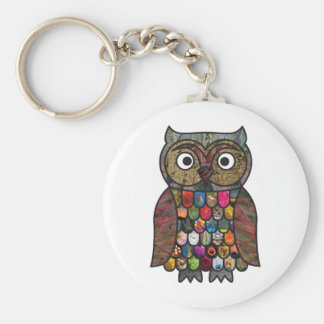 Patchwork Owl Basic Round Button Key Ring