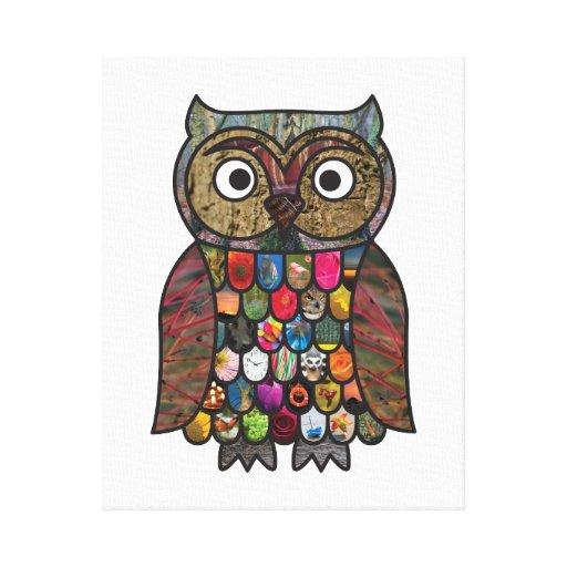 Patchwork Owl Canvas Prints