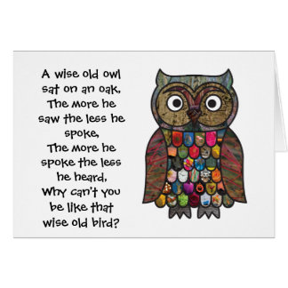 Patchwork Owl Card with Quote / Poem