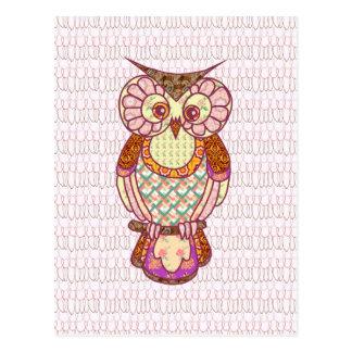 Patchwork owl hearts postcard