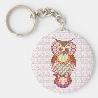 Patchwork owl key chains
