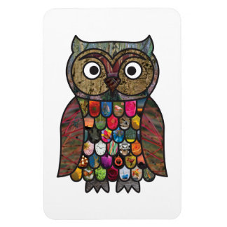Patchwork Owl Rectangular Magnets