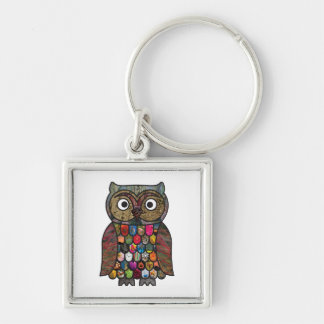 Patchwork Owl Silver-Colored Square Key Ring