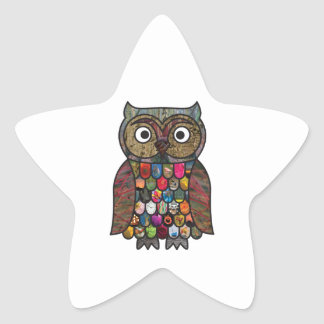 Patchwork Owl Star Sticker