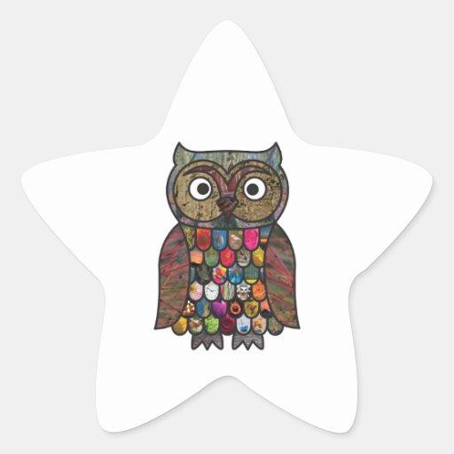 Patchwork Owl Sticker