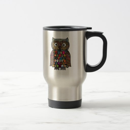 Patchwork Owl Travel Mug