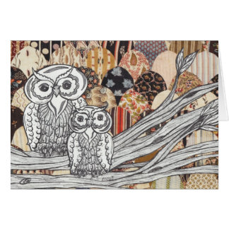Patchwork Owls 2 Card