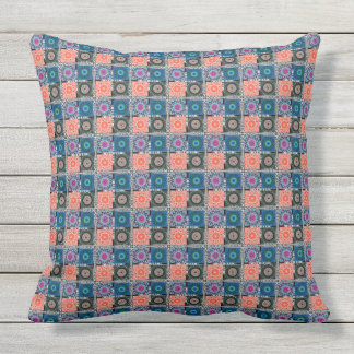 "Patchwork Pattern Outdoor Throw Pillow 20"" x 20"""