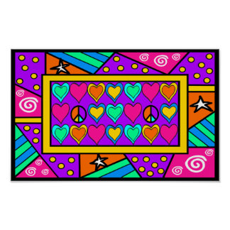 Patchwork Peace and Love Poster