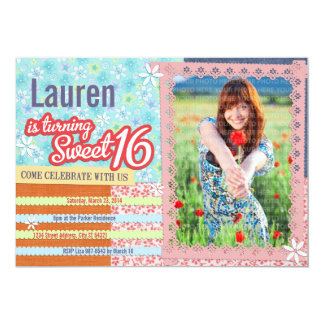 Patchwork & Pink Lace Sweet 16 Photo Invitation