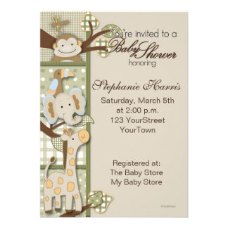 Patchwork Plaid with Safari Animals Custom Invites