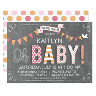 Patchwork Print Letters Chalkboard Baby Shower Card