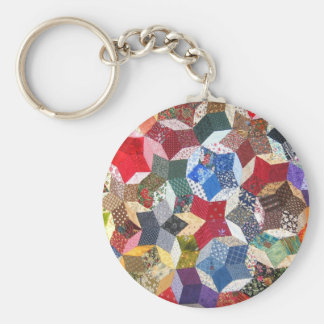 Patchwork Quilt Basic Round Button Key Ring