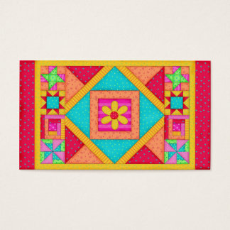 Patchwork Quilt Block Art Red Yellow Custom Business Card