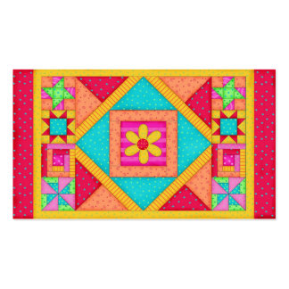 Patchwork Quilt Block Art Red Yellow Custom Pack Of Standard Business Cards