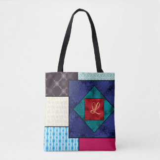 Patchwork Quilt Monogram Tote Bag