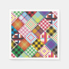 Patchwork Quilt Multicolored Gingham Disposable Serviette
