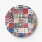 Patchwork Quilt Multicolored Gingham Paper Plate