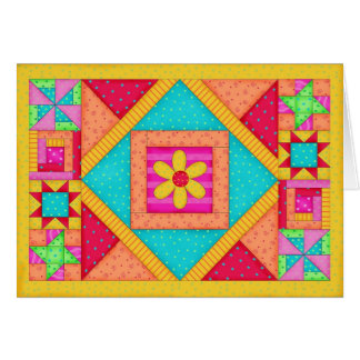 Patchwork Quilt Note Card / Thank You Card