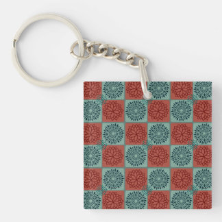 Patchwork Quilt Pattern Red Blue Flower Art Design Double-Sided Square Acrylic Key Ring
