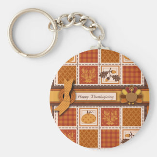 Patchwork Quilted-look Thanksgiving Basic Round Button Key Ring