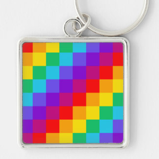 Patchwork Rainbow Large Square Keychain