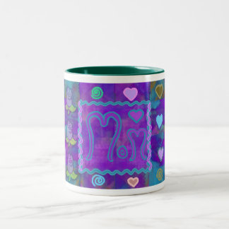 Patchwork Rose Collage Two-Tone Mug