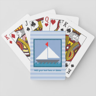 Patchwork Sail Boat In Blue and White Personalized Playing Cards