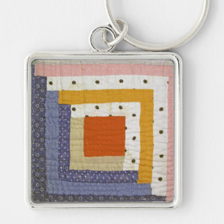 Patchwork Silver-Colored Square Key Ring