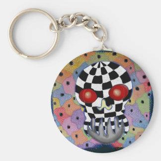 Patchwork Skull Basic Round Button Key Ring