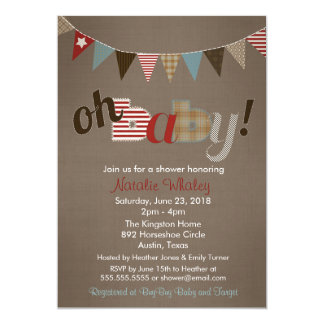 Patchwork Stitch Rustic Quilt Banner Baby Shower Card